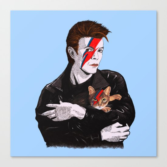 David & The cat Canvas Print