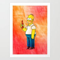 homer Art Prints featuring Homer & Duff by Lukas Stobie