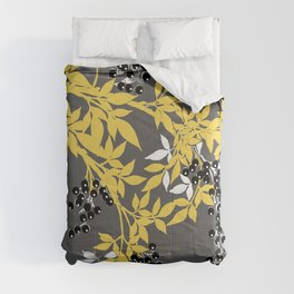 TREE BRANCHES YELLOW GRAY  AND BLACK LEAVES AND BERRIES Comforters