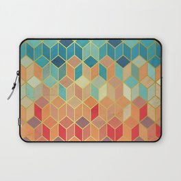 Colorful Squares with Gold - Friendly Colors and Marble Texture Laptop Sleeve