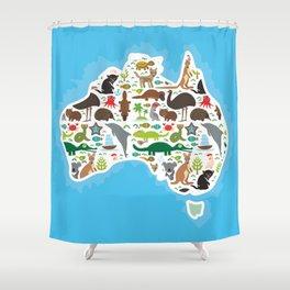 map of Australia. Echidna Platypus ostrich Emu Tasmanian devil Cockatoo parrot Wombat snake turtle Shower Curtain
