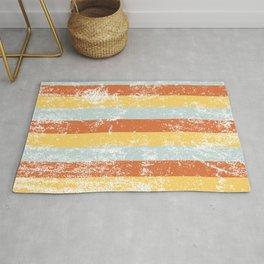 Warm Summer Distressed Stripey Pattern Design Rug