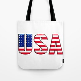 United States Font with American Flag Tote Bag
