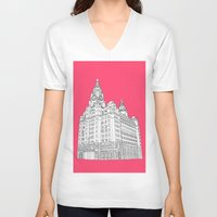liverpool V-neck T-shirts featuring Liverpool Liver Building  by sarah illustration