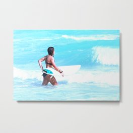 Girl Surfing Metal Print