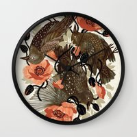death Wall Clocks featuring Spangled & Plumed by Teagan White