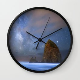 Rocky shore with starry night Wall Clock