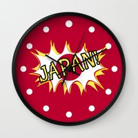 japan Wall Clocks featuring Japan by mailboxdisco