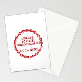 Liberte, egalite, homosexualite ou la mort / Red text Stationery Cards