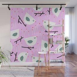 Mid-Century Modern Birds on Twigs Pink Print Wall Mural