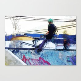 Hanging On  -  Stunt Scooter Artwork Canvas Print