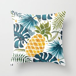 Golden pineapple on palm leaves foliage Throw Pillow