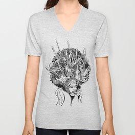 Handdrawn psychedelic Jimi Hendrix black and white portrait illustration Unisex V-Neck