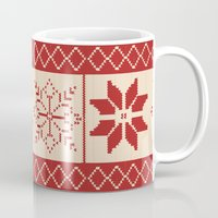 sweater Mugs featuring Christmas Sweater by Minette Wasserman