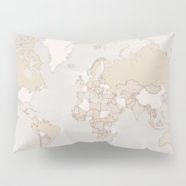 "Rustic world map in grey and brown ""Lucille"" Pillow Sham"
