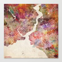 istanbul Canvas Prints featuring Istanbul by MapMapMaps.Watercolors