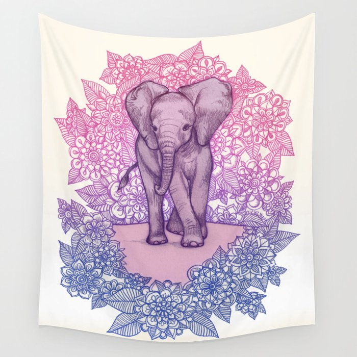 Cute Baby Elephant in pink, purple & blue Wall Tapestry by micklyn ...