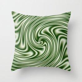 Spearmint Ribbon Candy Fractal Throw Pillow
