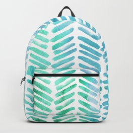 Handpainted Chevron pattern - light green and aqua - stripes Backpack