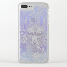 Pastel Purple Hiding Fox Drawing Clear iPhone Case