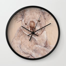 Koala Bear - Drawing by Burning on Wood - Pyrography Art Wall Clock