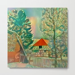The House by the Wall Metal Print