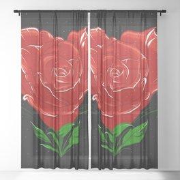 ROSE HEART Sheer Curtain