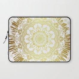 Mandala Gold White Spiritual Zen Bohemian Hippie Indian Yoga Mantra Meditation Laptop Sleeve
