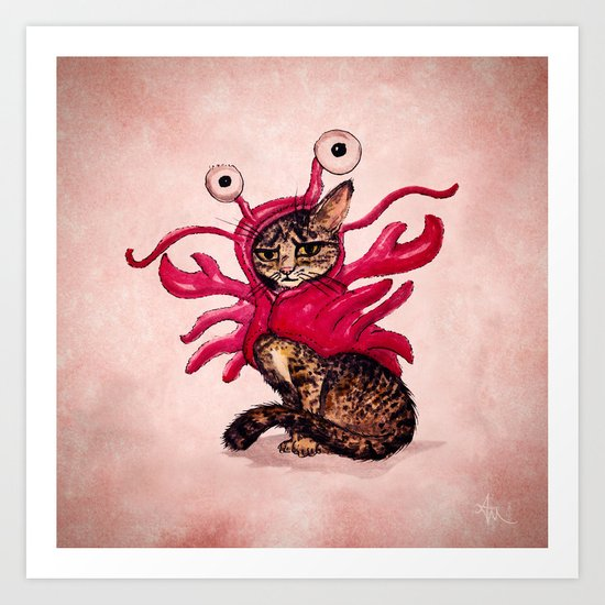 """""""Ma'ama Lisa"""" by Amber Marine ~ Lobster Cat, Watercolor and Ink, (c) 2015 Art Print"""