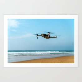 UAV Drone Quadcopter And Digital Camera Flying, Technology, Unmanned Aerial Vehicle, Drone Photo Art Print