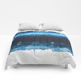 Lake Michigan: a pretty, minimal abstract piece in icy blues by Alyssa Hamilton Art Comforters