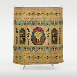Egyptian Sphinx Ornament on papyrus Shower Curtain