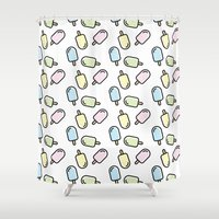 popsicle Shower Curtains featuring Popsicle by Ariadna Macías