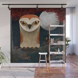 Deep in the Night, Owl Eyes Bright Wall Mural
