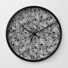 The Paths Taken Black and White Cobblestone Pattern Wall Clock