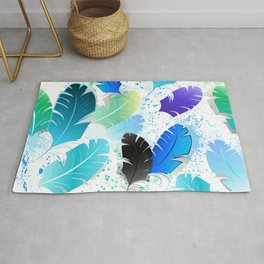 Seamless Pattern with Blue Feathers Rug