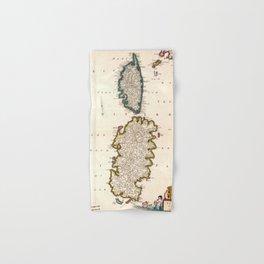 Vintage Sardinia and Corsica Map (1682) Hand & Bath Towel