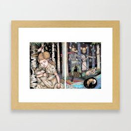 Girl and Wolf Separate Framed Art Print