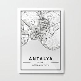 Antalya Light City Map Metal Print