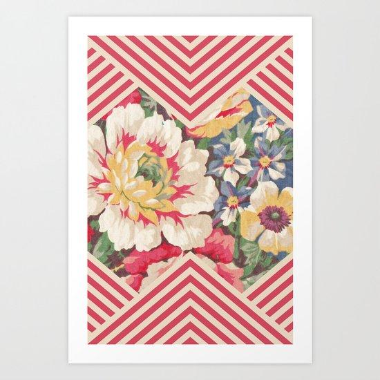 Floral Chevron Art Print