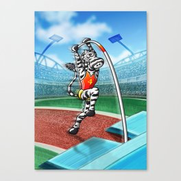 Olympic Pole Vault Zebra Canvas Print