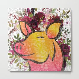 On he Farm-Pig Metal Print