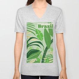 Brazil rainforest vintage travel poster Unisex V-Neck