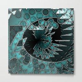Modern Aqua Black and White abstract Metal Print