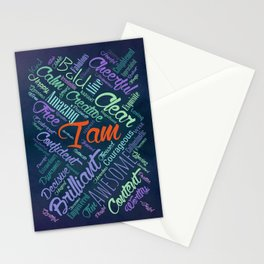 I am Affirmations Word Cloud Art Stationery Cards