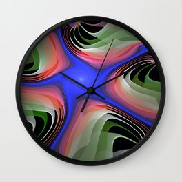 Connections, colourful modern fractal abstract Wall Clock