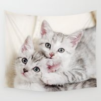 kitten Wall Tapestries featuring Kitten by Sushibird