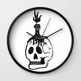 Melting Candle Skull Wall Clock