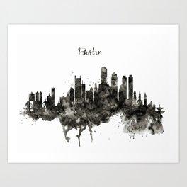 Boston Skyline Black and White Art Print
