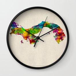 Panama Map in Watercolor Wall Clock